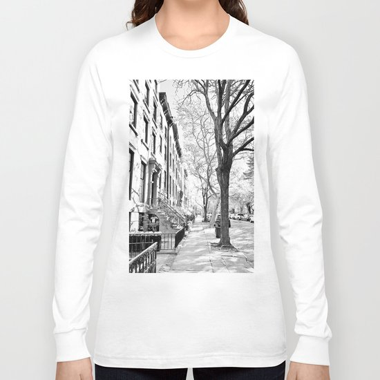 Cobble Hill Brooklyn Winter Black and White Brownstone Long Sleeve T-shirt