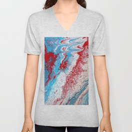 Marble Red Blue Paint Splatter Abstract Painting by Jodilynpaintings Red Unisex V-Neck