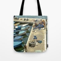 fishing Tote Bags featuring Fishing by Sébastien BOUVIER