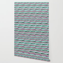 Geometrical mauve violet teal gray forest green stripes Wallpaper