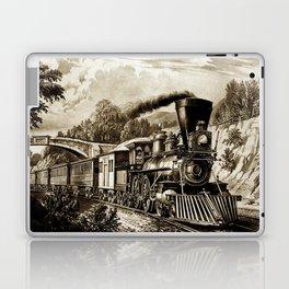 Vintage steam train illustration Laptop & iPad Skin
