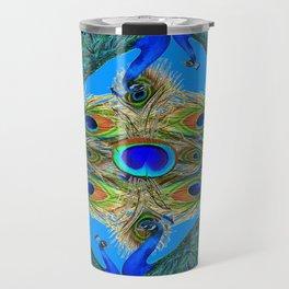 BLUE PEACOCKS KHAKI COLOR  FEATHER PATTERNS ART Travel Mug