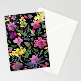 Contrast Pink and Yellow Watercolor Florals on Black Background Stationery Cards