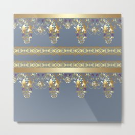 East Arabic Golden ornament . the gray background . Metal Print