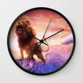 Roaring Space Lion Wall Clock