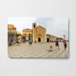 Church Courtyard Metal Print
