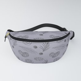 Pine cones on grey and blue Fanny Pack