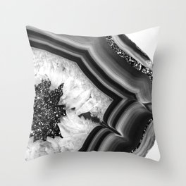 Gray Black White Agate with Black Silver Glitter #1 #gem #decor #art #society6 Throw Pillow