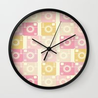 cameras Wall Clocks featuring Cameras by Yasmina Baggili