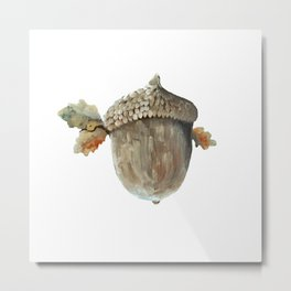 Fall acorn and oak leaves Metal Print