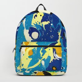 Marble Ink in Blue Yellow Green Black White Backpack