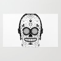 c3po Area & Throw Rugs featuring C3PO Sugar Skull by richhemsley