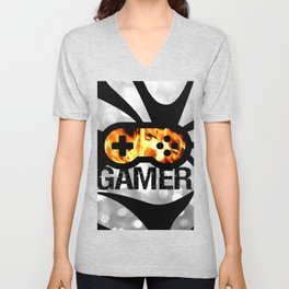 Gamer Flames BNW Unisex V-Neck