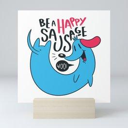Happy Sausage Dog Cute Dachshunds Gift Mini Art Print