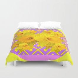 Golden Yellow Daffodils Bouquet Garden Lilac Art Duvet Cover