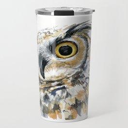 Owl Great Horned Bird of Prey Owls Animals Bird Wildlife Travel Mug