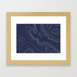 Navy topography map Framed Art Print