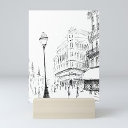 Sketch of a Street in Paris Mini Art Print