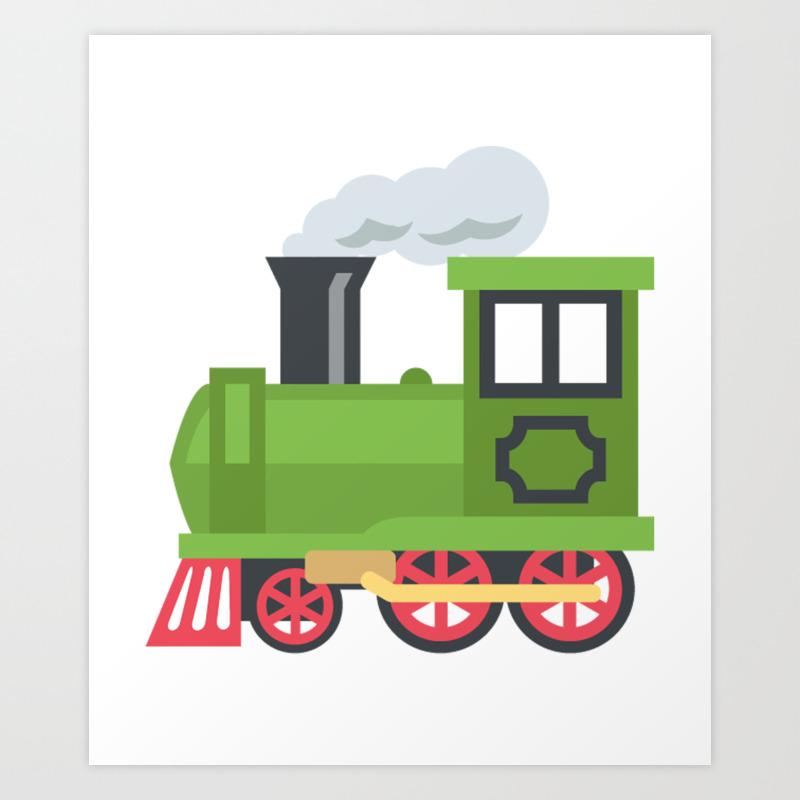 Green Steam Train Emoji Art Print By Azza1070 Society6