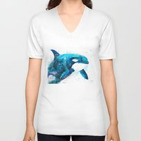 orca V-neck T-shirts featuring Orca  by Slaveika Aladjova
