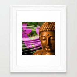 Buddha Head & Flowers in Rippling Water Framed Art Print