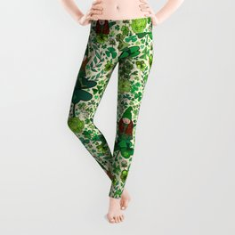 Wee Irish Gnomes in a Shamrock Forest Leggings