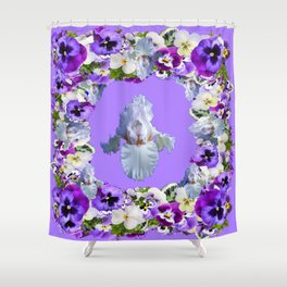 SPRING LILAC PURPLE PANSY FLOWERS & WHITE IRIS PATTERN Shower Curtain