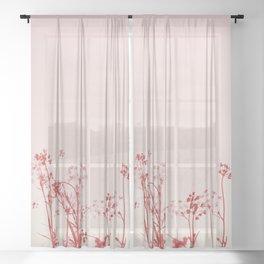 Elegant Coral Pink Botanical Floral Abstract. Sheer Curtain