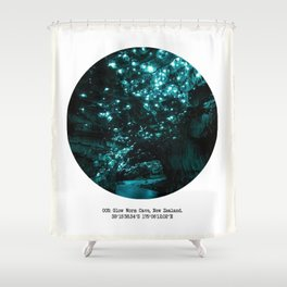 005: Glow Worm Cave, New Zealand Shower Curtain