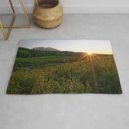 COLORADO SUMMER SUNSET MOUNTAIN FLOWER PHOTOGRAPHY Rug