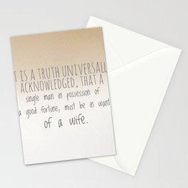 In want of a wife Stationery Cards