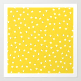 Yellow background with white stars seamless pattern Art Print
