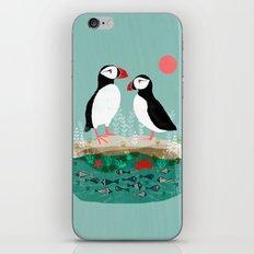 Puffins - Bird Art, Shorebird, Sea bird, birds, Cute illustration by Andrea Lauren iPhone Skin