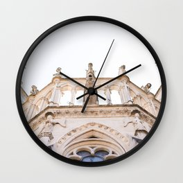 Look up at the cathedral of Notre-Dame in Reims Wall Clock
