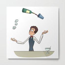 Bartender juggler bottle and cocktail Metal Print
