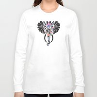 asian Long Sleeve T-shirts featuring Asian Elephant by Paula McGloin