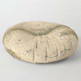 1639 Vintage Map of Cuba Floor Pillow