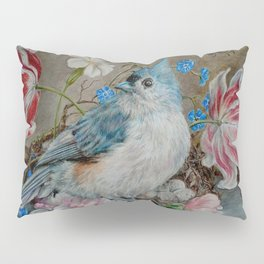 Blue Titmouse and Bee with floral still life Pillow Sham