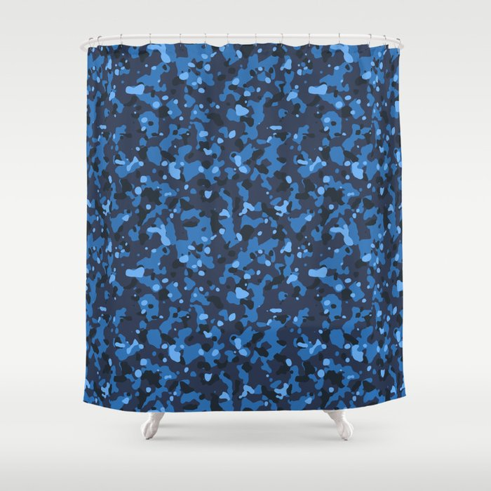 Blue Abstract Camouflage Shower Curtain