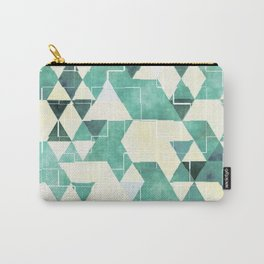 Abstract Green Triangles, Watercolor Pattern Carry-All Pouch