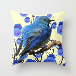 BLUE BIRD & BLUE MORNING GLORIES ART FROM  SOCIETY6 BY SHARLESART. Throw Pillow