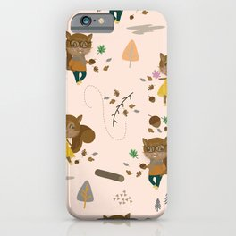 Mr and Mrs Squirrel Apricot Background iPhone Case