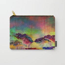 IT'S A ROSE COLORED LIFE 4 - Deep Red Colorful Floral Garden Abstract Crimson Green Painting Carry-All Pouch