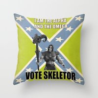 skeletor Throw Pillows featuring Vote Skeletor by Itomi Bhaa