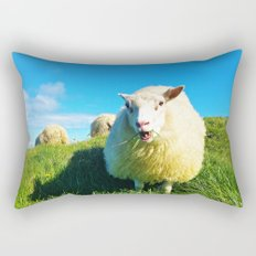 Sheeps in Iceland with Green Field Rectangular Pillow