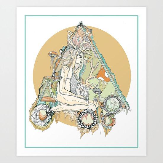 orange mushroom Art Print