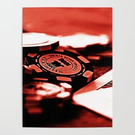 Casino Chips & Cards-Red Poster