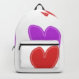 Red and Purple Hearts - 4 hearts Backpack