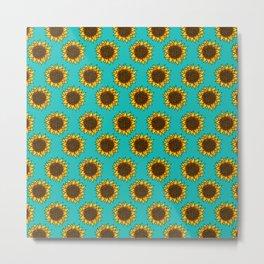 Aqua Sunflowers Metal Print