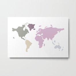 sweet soft modern world map Metal Print